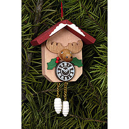 Tree Ornament - Cuckoo Clock with Moose - 6,4x6,5 cm / 2.5x2.5 inch