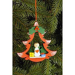 Tree Ornament - Fir Tree with Angel - 8,5x8,7 cm / 3.3x3.4 inch
