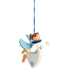 Tree Ornament - Floating Angel Blue with Thread - 6 cm / 2.4 inch