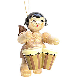 Tree Ornament - Floating Angel with Bongo Drums - Natural Colors - 5,5 cm / 2.2 inch