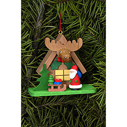 Tree Ornament - Forest House with Santa Claus - 7,1x6,2 cm / 2.8x2.4 inch