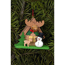 Tree Ornament - Forest House with Snowman - 7,1x6,2 cm / 2.8x2.4 inch