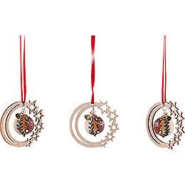 Tree Ornament - Glass Bauble in Starry Moon - Teddy Bear - 3 pcs. - 7 cm / 2.8 inch