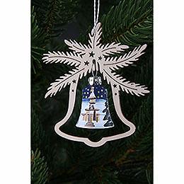 Tree Ornament - Glass Bell - Seiffen Church - 3 pcs. - 9x8 cm / 3.5x3.1 inch