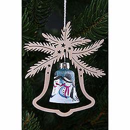 Tree Ornament - Glass Bell - Snowman - 3 pcs. - 9x8 cm / 3.5x3.1 inch