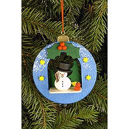 Tree Ornament - Globe with Snowman - 6,7x7,4 cm / 2.6x2.9 inch