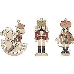 Tree Ornament - Horseman, Nutcracker, Smoker - Set of 6 - 7 cm / 2.8 inch