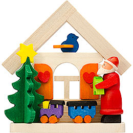 Tree Ornament - House Santa Claus with Rail Road - 7,5 cm / 3 inch