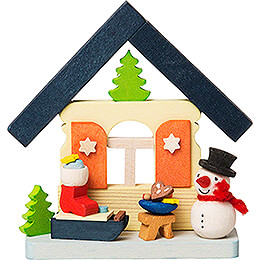 Tree Ornament - House Snowman with Sled - 7,4 cm / 2.9 inch