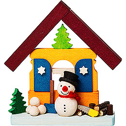 Tree Ornament - House Snowman with Wood Pile - 7,4 cm / 2.9 inch