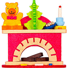 Tree Ornament - Little Fireplace with Teddy - 6 cm / 2.4 inch