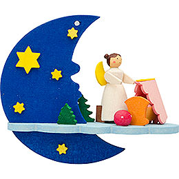Tree Ornament - Moon-Cloud-Angel with Cradle - 8 cm / 3.1 inch