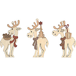 Tree Ornament - Moose - Set of 6 - 7 cm / 2.8 inch