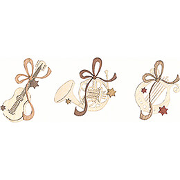Tree Ornament - Musical Instruments - Set of 6 - 7,5 cm / 3 inch