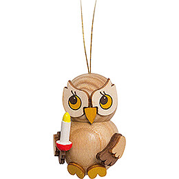 Tree Ornament - Owl Child with Candle - 4 cm / 1.6 inch