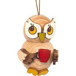 Tree Ornament - Owl Child with Cup - 4 cm / 1.6 inch
