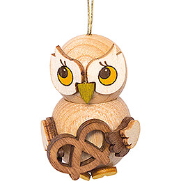 Tree Ornament - Owl Child with Pretzel - 4 cm / 1.6 inch