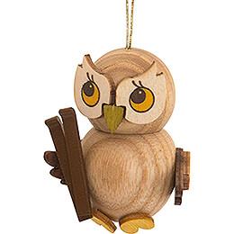 Tree Ornament - Owl Child with Ski - 4 cm / 1.6 inch