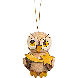 Tree Ornament - Owl Child with Star - 4 cm / 1.6 inch