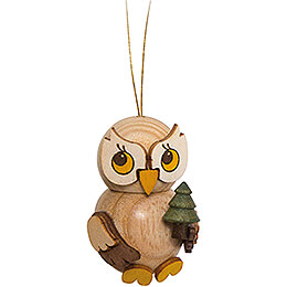 Tree Ornament - Owl Child with Tree - 4 cm / 1.6 inch
