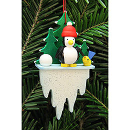 Tree Ornament - Penguin on Icicle - 5,5x8,8 cm / 2.2x3.4 inch