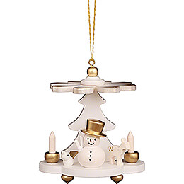 Tree Ornament - Pyramid White with Snowman - 7,5 cm / 3.0 inch