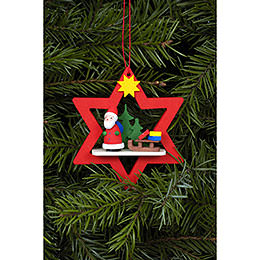 Tree Ornament - Santa Claus in Red Star - 6,8 / 7,8 cm - 3x3 inch