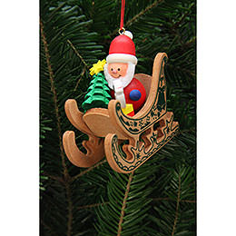Tree Ornament - Santa Claus in Sleigh - 7,5x7,1 cm / 3x3 inch
