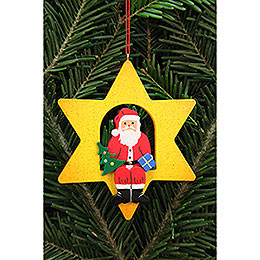 Tree Ornament - Santa Claus in Star - 9,5x9,5 cm / 3.7x3.7 inch