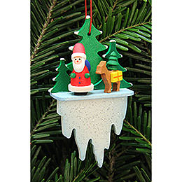 Tree Ornament - Santa Claus with Bambi on Icicle - 5,5x8,8 cm / 2.2x3.4 inch