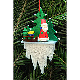 Tree Ornament - Santa Claus with Sleigh on Icicle - 5,5x8,8 cm / 2.2x3.4 inch