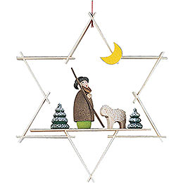 Tree Ornament - Shepherd with Sheep - 9,5 cm / 3.7 inch
