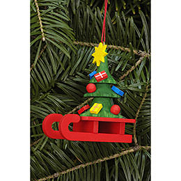Tree Ornament - Sleigh with Christbaum - 5,2x6,4 cm / 2.0x2.5 inch