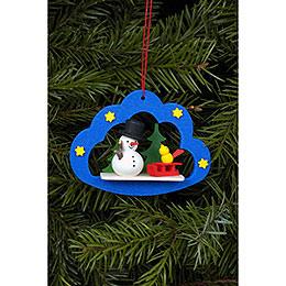 Tree Ornament - Snowman in Angel Cloud - 7,5x5,7 cm / 3x2 inch
