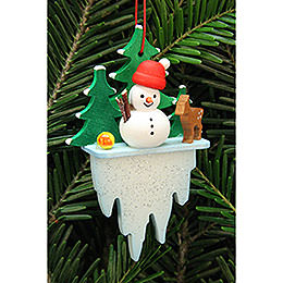 Tree Ornament - Snowman on Icicle - 5,5x8,8 cm / 2.2x3.4 inch