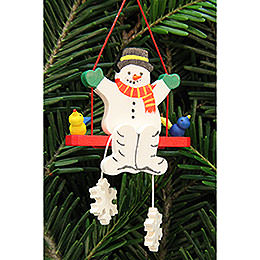 Tree Ornament - Snowman on Swing - 5,1x5,1 cm / 2x2 inch