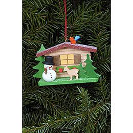 Tree Ornament - Snowman with Alpine House - 9,3x5,3 cm / 3.7x2.1 inch