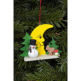 Tree Ornament - Snowman with Bambi and Moon - 5,5 cm / 2.2 inch