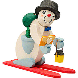 Tree Ornament - Snowman with red Ski - 7 cm / 2.8 inch