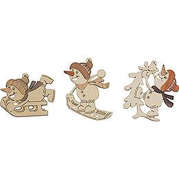 Tree Ornament - Sporty Snowmen - Sledder & Co - Set of 6 - 7 cm / 2.8 inch
