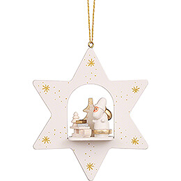 Tree Ornament - Star White Santa with Sled - 9,6 cm / 3.8 inch