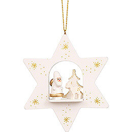 Tree Ornament - Star White with Santa Claus - 9,6 cm / 3.8 inch