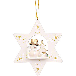 Tree Ornament - Star White with Snowman - 9,6 cm / 3.8 inch