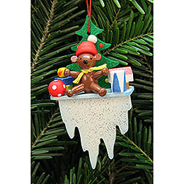 Tree Ornament - Teddy on Icicle - 4,5x8,8 cm / 1.7x3.4 inch