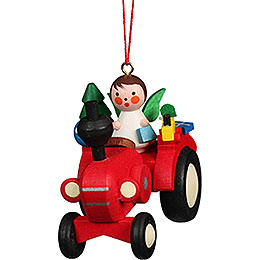 Tree Ornament Tractor with Angel - 5,7x5,1 cm / 2.3x2.0 inch