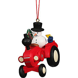 Tree Ornament Tractor with Snowman - 5,7x5,6 cm / 2.3x2.3 inch