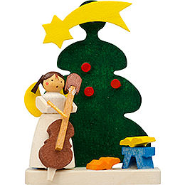 Tree Ornament - Tree Angel with Cello - 6 cm / 2.4 inch