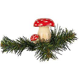 Tree Ornament - Tree Clip Toadstool - 5,5 cm / 2,1 inch