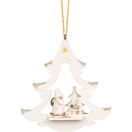 Tree Ornament - Tree White with Santa Claus - 8,7 cm / 3.4 inch