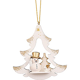 Tree Ornament - Tree White with Snowman - 8,7 cm / 3.4 inch
